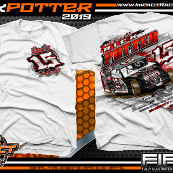 Rick-Potter-Lucky-15-Racing-T-Shirts-Modified-Race-Car-Tees-Pennsylvania-White