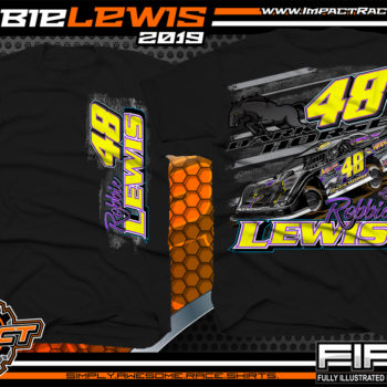 Robbie-Lewis-Dirt-Late-Model-Racing-T-Shirts-Portsmouth-Raceway-Park-Racer-T-Shirt-Dark-Horse-Kentucky-Black