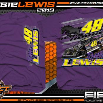 Robbie-Lewis-Dirt-Late-Model-Racing-T-Shirts-Portsmouth-Raceway-Park-Racer-T-Shirt-Dark-Horse-Kentucky-Purple