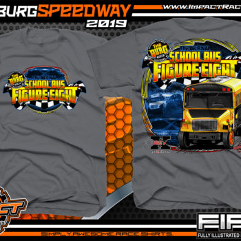 School-Bus-Figure-Eight-Galesburg-Speedway-Race-T-Shirts-Michigan-Racetrack-Event-Shirts-Charcoal