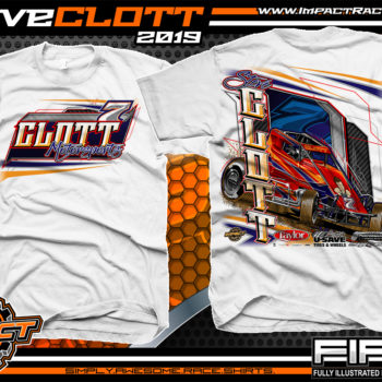 Steve-Clott-Non-winged-Sprint-Car-Racing-T-Shirts-Clott-Motorsports-Shirts-White