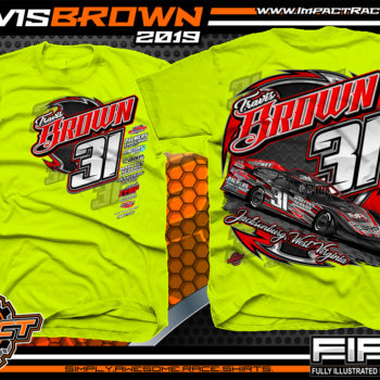 Travis-Brown-Race-TShirts-Lucas-Oil-Dirt-Late-Model-Racing-Series-West-Virginia-Safety-Yellow