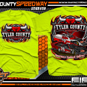 Tyler-County-Speedway-Dirt-Racing-Gear-Track-TShirts-Americas-Baddest-Bullring-Race-Track-Apparel-Safety-Yellow
