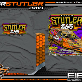 Tyler-Stutler-265-Dirt-Late-Model-Racing-T-Shirts-West-Virginia-Charcoal