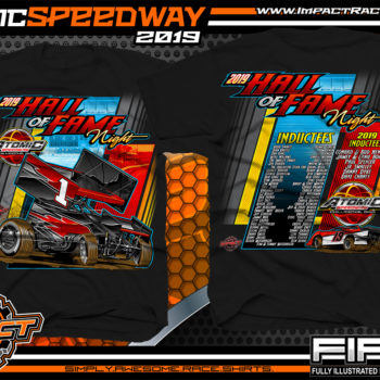 Atomic Speedway Hall of Fame Night Event T-Shirts Chillicothe, Ohio Dirt Racing Shirts World of Outlaws Winged Sprint Cars Jeff Gordon Black