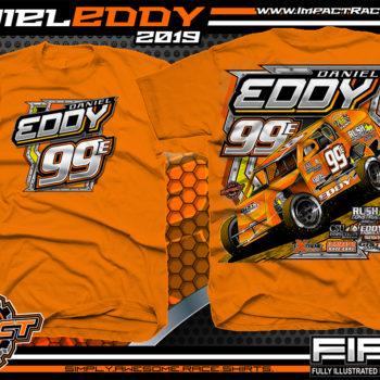 Daniel Eddy Dirt Racing Shirts Modified Racing T-Shirts Orange