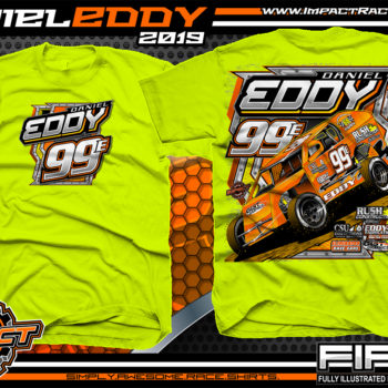 Daniel Eddy Dirt Racing Shirts Modified Racing T-Shirts Safety Yellow