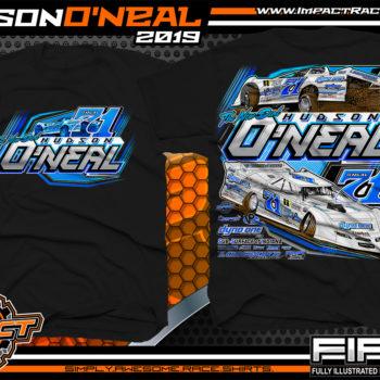Hudson O'Neal Lucas Oil Dirt Late Model Racing T-Shirt Martinsville Indiana Longhorn Race Cars Racing Shirts Black