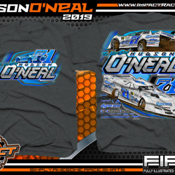 Hudson O'Neal Lucas Oil Dirt Late Model Racing T-Shirt Martinsville Indiana Longhorn Race Cars Racing Shirts Dark Heather