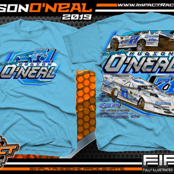 Hudson O'Neal Lucas Oil Dirt Late Model Racing T-Shirt Martinsville Indiana Longhorn Race Cars Racing Shirts Sky