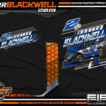 Hunter Blackwell Dirt Late Model Racing T-Shirts Tennessee Racing Shirts Black