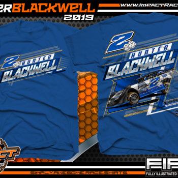 Hunter Blackwell Dirt Late Model Racing T-Shirts Tennessee Racing Shirts Royal
