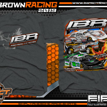 Irvin Brown Racing Jacksonburg, West Virginia Dirt Late Model Racing Shirts for Teams and Drivers Rocket Chassis Kryptonite Race Cars Dark Heather