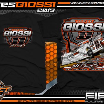 James Giossi Dirt Late Model Racing T-Shirt Cedar Lake Speedway Wisconsin Nitro Black