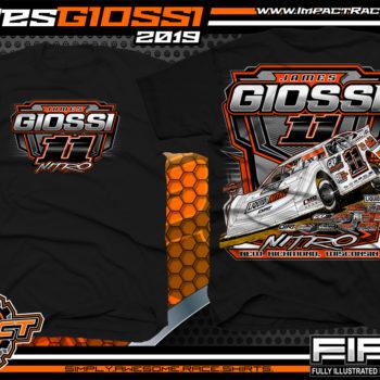 James Giossi Dirt Late Model Racing T-Shirt Cedar Lake Speedway Wisconsin Nitro Black