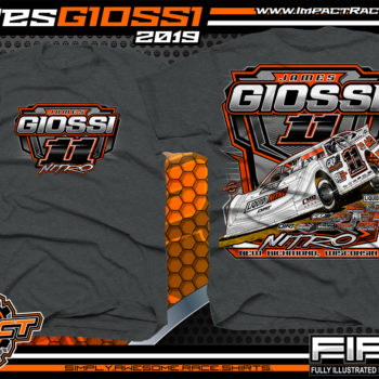 James Giossi Dirt Late Model Racing T-Shirt Cedar Lake Speedway Wisconsin Nitro Dark Heather