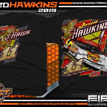 Jared Hawkins JHawk Tim Logan Racing Rocket Chassis Fairmont West Virginia Lucas Oil Dirt Late Model Seris T-Shirt Black