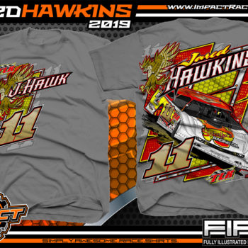 Jared Hawkins JHawk Tim Logan Racing Rocket Chassis Fairmont West Virginia Lucas Oil Dirt Late Model Seris T-Shirt Gravel