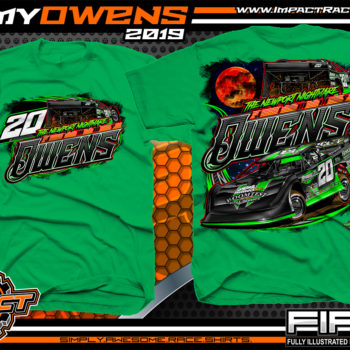 Jimmy Owens Lucas Oil Late Model Dirt Series Rocket Chassis Newport Nightmare Tennessee Dirt Late Model Racing T-Shirts