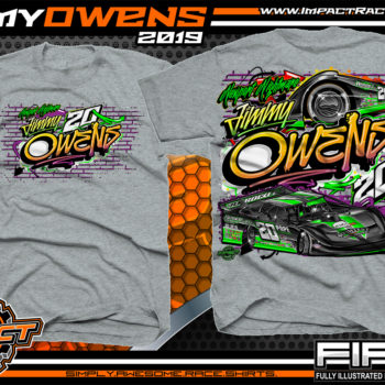 Jimmy Owens Lucas Oil Late Model Dirt Series Rocket Chassis Newport Nightmare Tennessee Dirt Late Model Racing T-Shirts Grafiti Sport Grey
