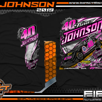 Tina Johnson Georgia Girl Dirt Late Racing T-Shirts Lucas Oil Dirt Late Model Racing Series Shirts Black