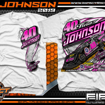 Tina Johnson Georgia Girl Dirt Late Racing T-Shirts Lucas Oil Dirt Late Model Racing Series Shirts White