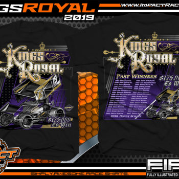 Tony Stewart's Eldora Speedway Kings Royal World of Outlaws Sprint Car Racing T-Shirts for Dirt Track Events Black